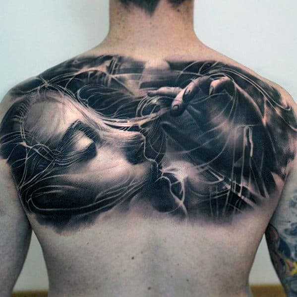 Spider Web With Female Portrait Guys Cool Upper Back Tattoos