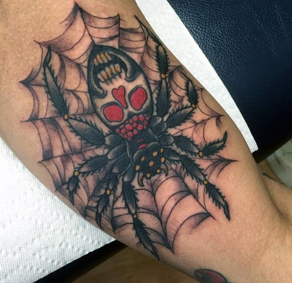 Spider Web With Skull Guys Traditional Arm Bicep Tattoo