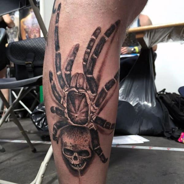 Spider With Skull Head Tattoo On Legs For Men