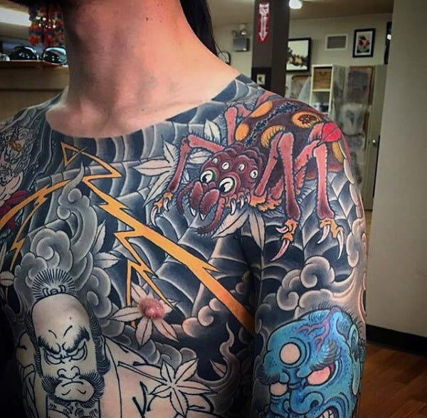 Spider With Web Mens Modern Chest Tattoos