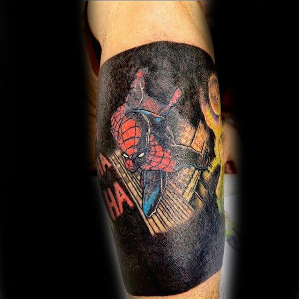 Spiderman Black Background Tattoo Mens Forearms
