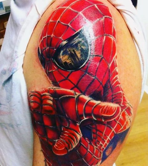 Spiderman Gloss Tattoo Mens Shoulders