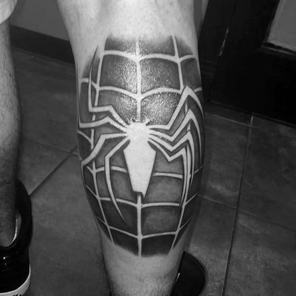 Spiderman Grey Mens Legs Tattoo