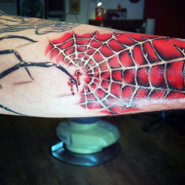 Spiderman Guys Spider Web Tattoo On Inner Forearm