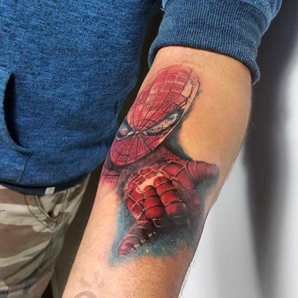 Spiderman Impressive Tattoo Male Forearms