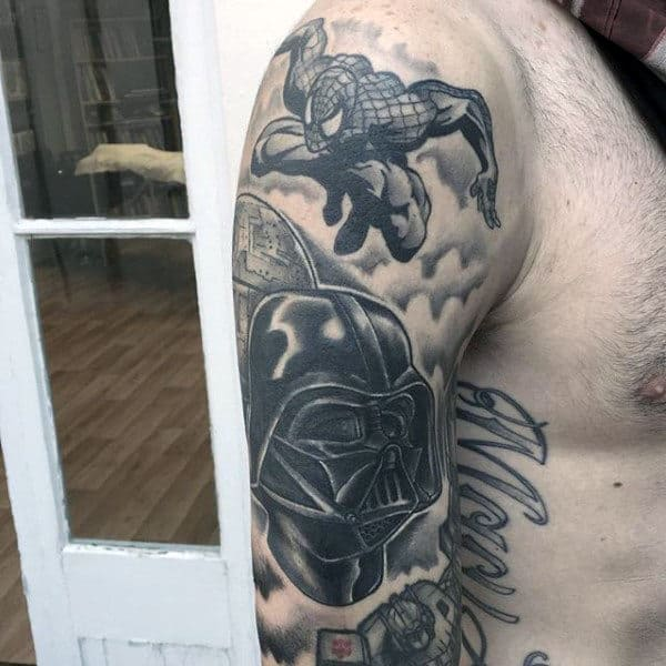 Spiderman In Action Tattoo Mens Upper Arms