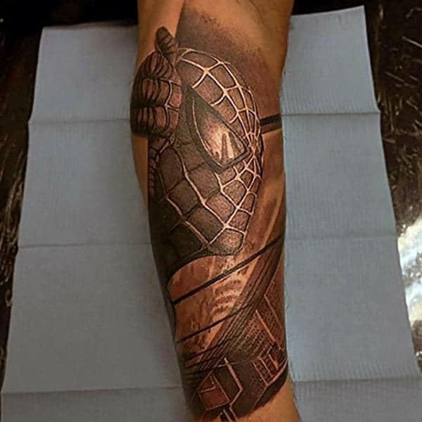 Spiderman Inner Forearm Mens Tattoos