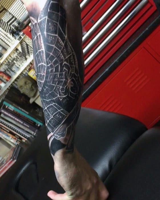 Spiderman Marvel Outer Forearm Tattoos For Men