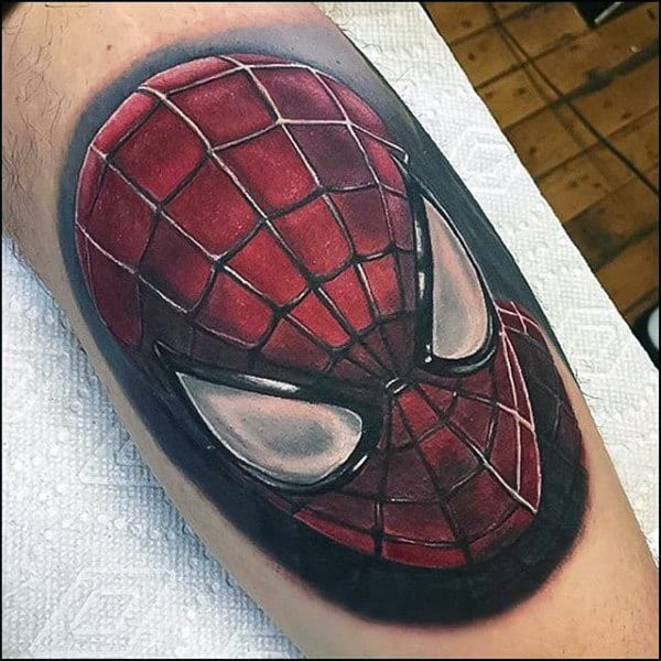 Spiderman Mask Tattoo On Male Forearms
