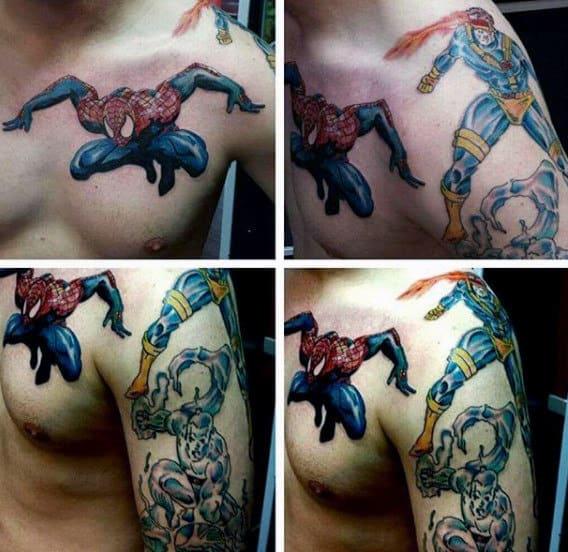 Spiderman Mid Air Tattoo Male Upper Arms