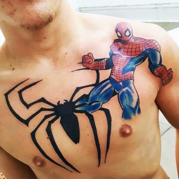 Spiderman Symbol Marvel Guys Chest Tattoos