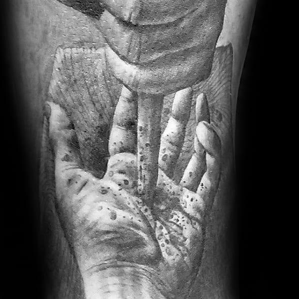 Spike Through Hand Guys 3d Realistic Catholic Arm Tattoo