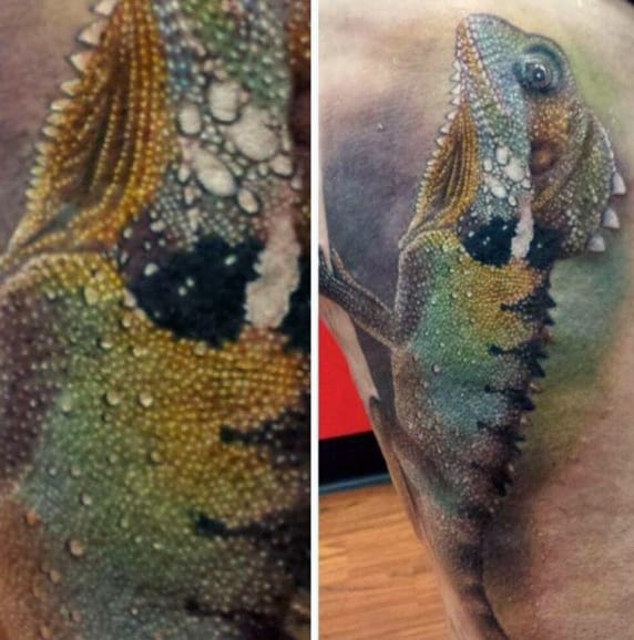Spikey Sea Lizard Tattoos For Guys Torso