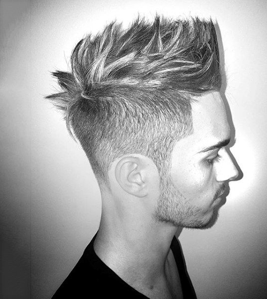 Spiky Medium Faux Hawk Fade Men