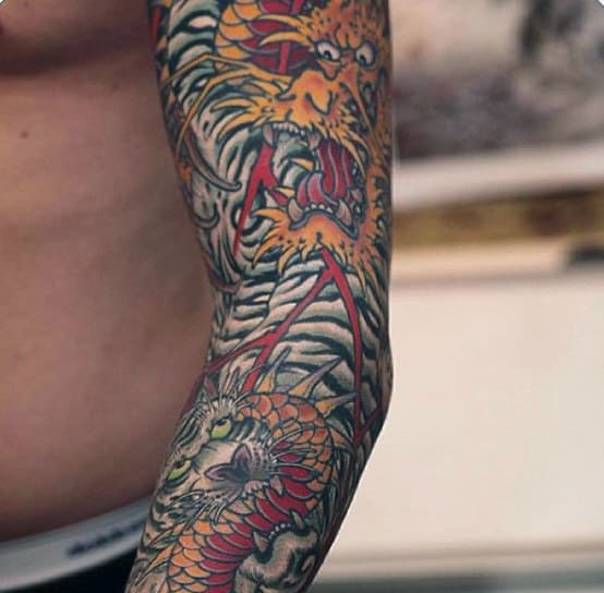 Spiky Yellow Being Japanese Tattoo For Men