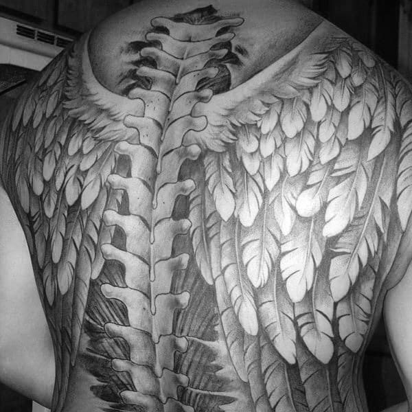 Spinal Cord With Angle Wings Mens Full Back Tattoo