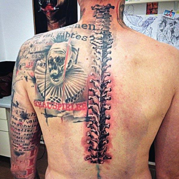 Spine Bones Mens Back Tattoo