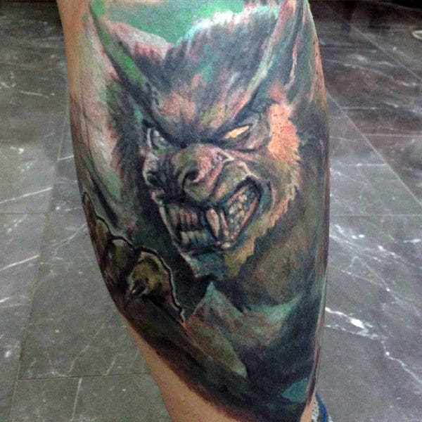 Spine Chilling Tattoo Of Were Wolf Guys Lower Leg