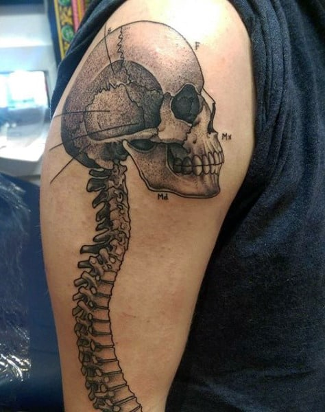 Spine Skull Tattoo Black And Grey Ink On Upper Arm For Men