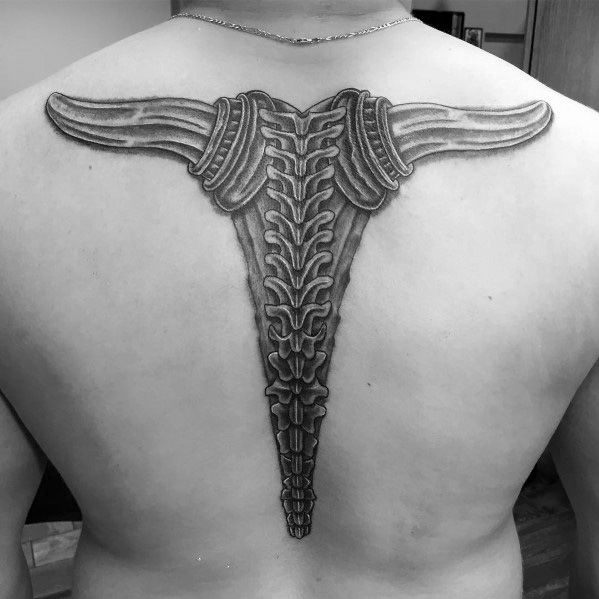 Spine Themed Male Italian Horn Themed Tattoos
