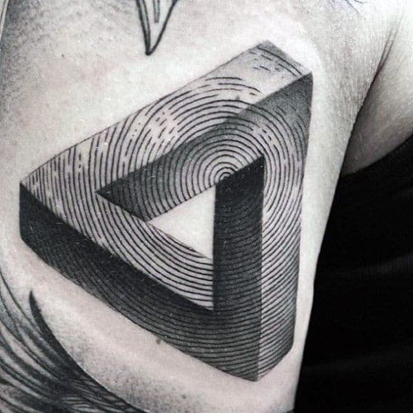 Spiral 3d Chest Penrose Triangle Tattoo Ideas For Gentlemen