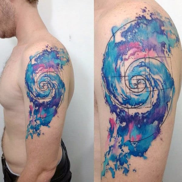 Spiral Artistic Watercolor Mens Arm Tattoo