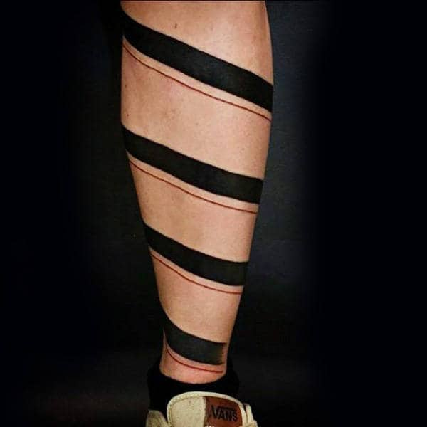 Spiral Black Band With Red Line Mens Leg Tattoo