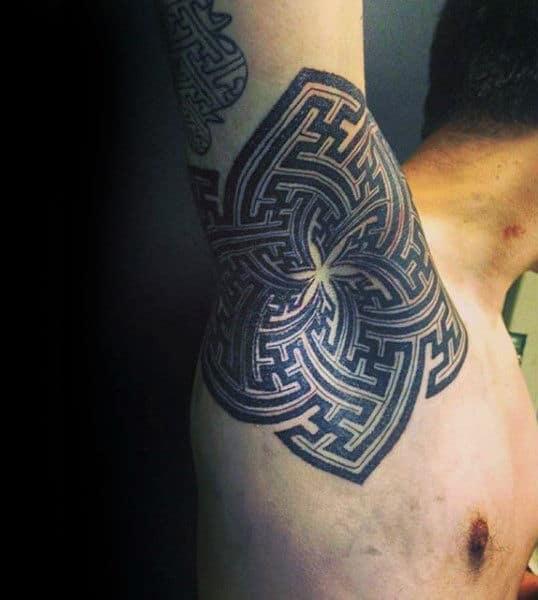 Spiral Black Design Tattoo Male Armpits