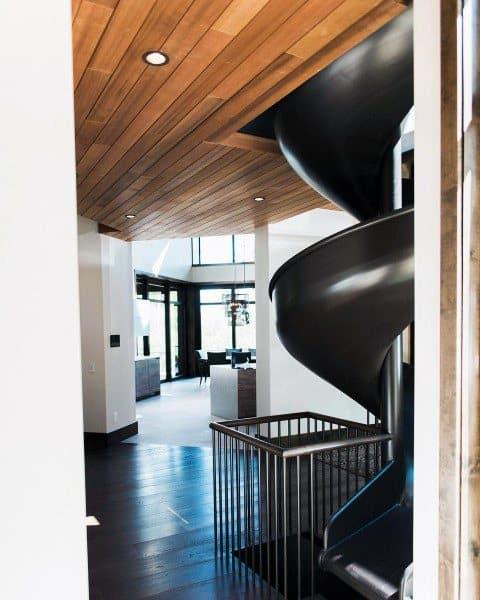 Spiral Black Indoor Slide Ideas