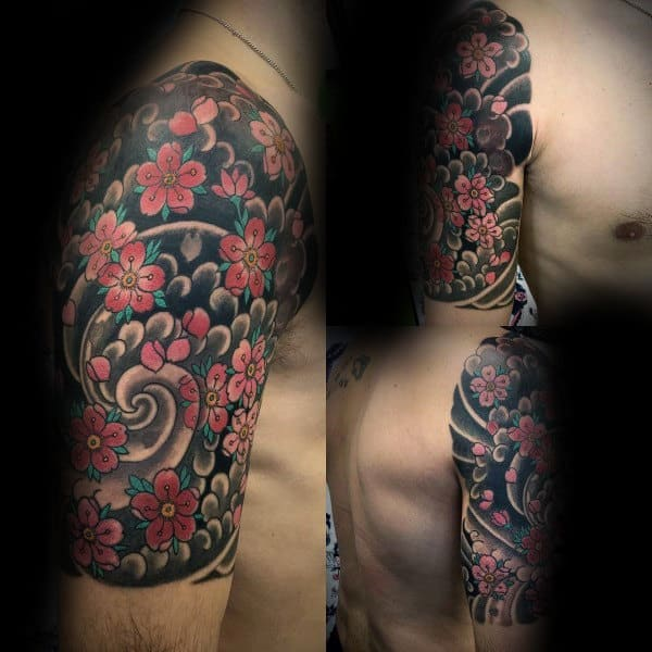 Spiral Cherry Blossom Japanese Flower Male Half Sleeve Tattoo