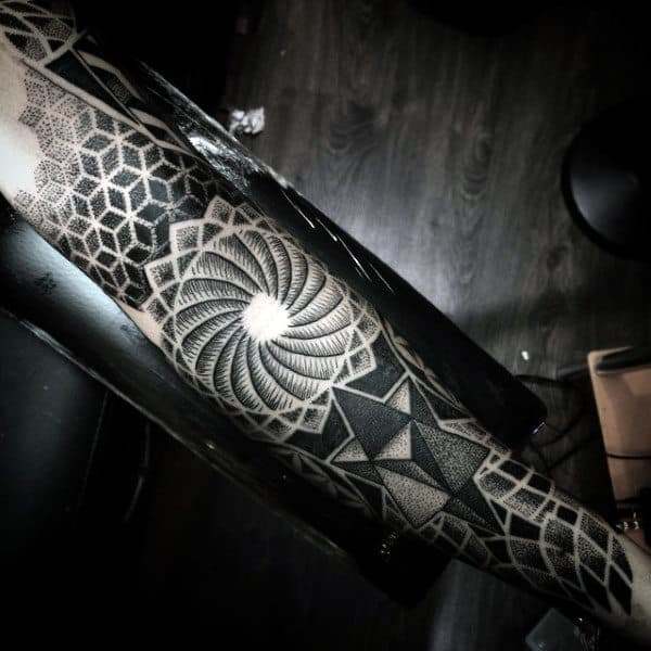 Spiral Geometric Blackwork Mens Full Sleeve Tattoo Inspiration