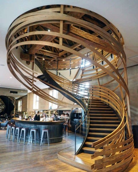 Spiral Interior Wood Stairs Design