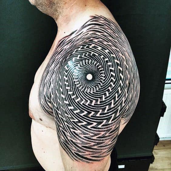 Spiral Optical Illusion Mens Shoulder And Back Tatoo