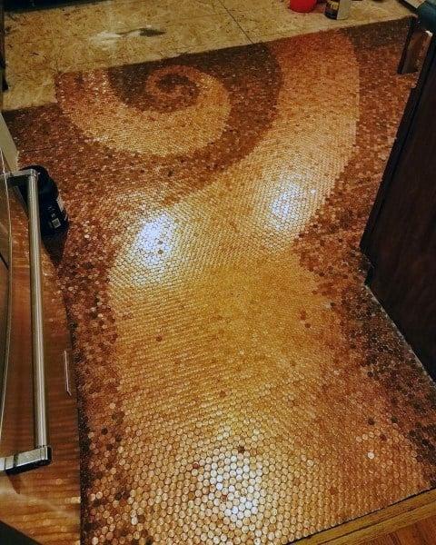 Spiral Penny Floor Design