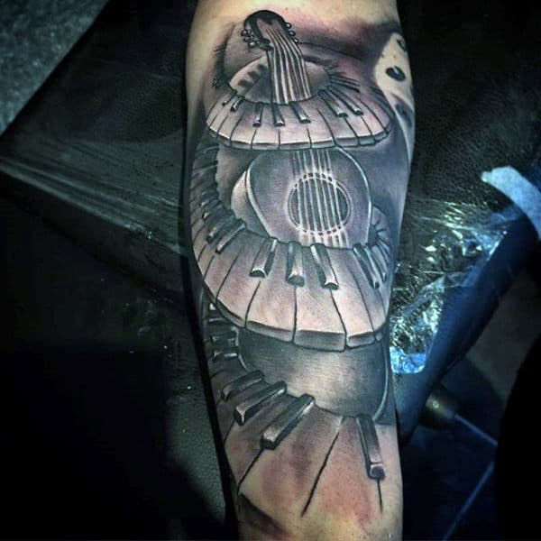 Spiral Piano Keys With Guitar Mens Forearm Tattoos