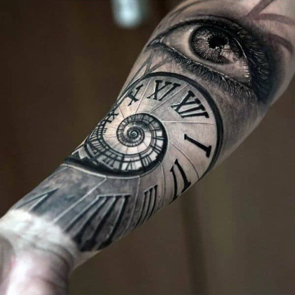 Spiral Roman Numeral Inner Forearm Clock Tattoo For Men