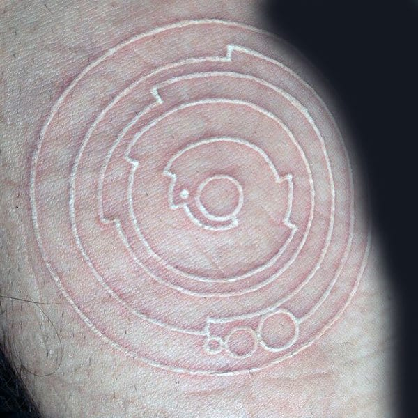 Spiral Simple Outline White Ink Male Tattoos