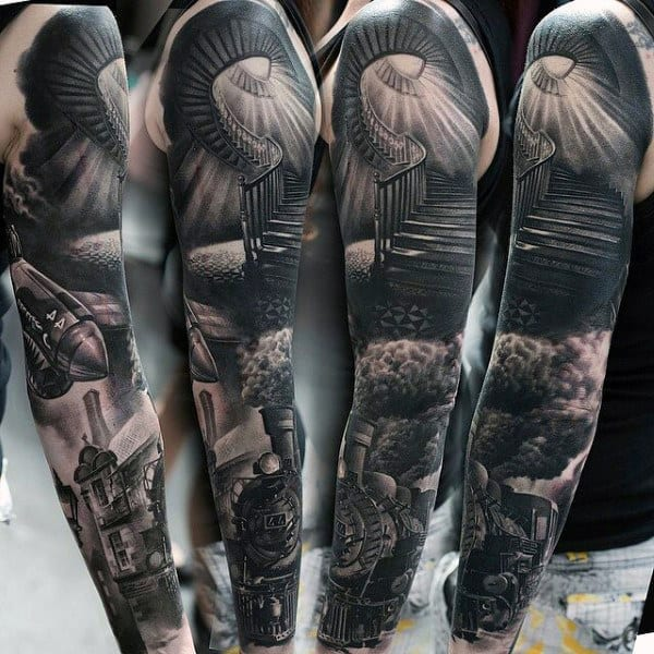 Spiral Staircase With Smoking Train Modern Full Sleeve Tattoos For Gentlemen