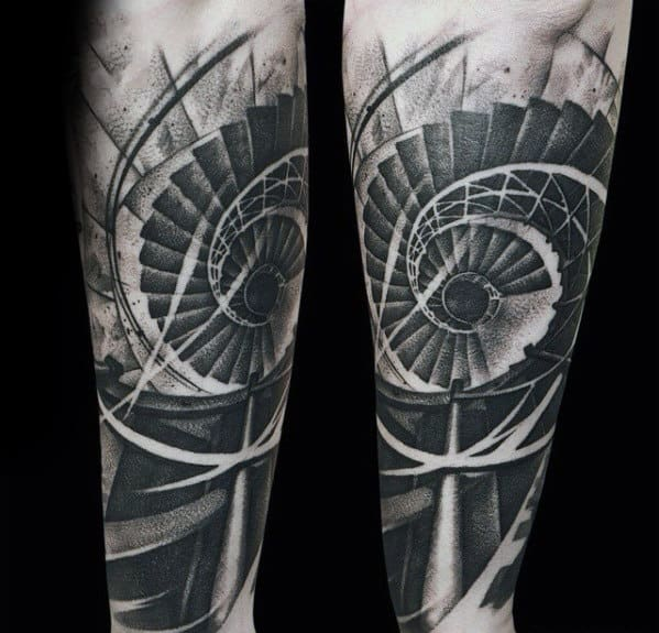 Spiral Staricase Sweet Mens Outer Forearm Tattoos