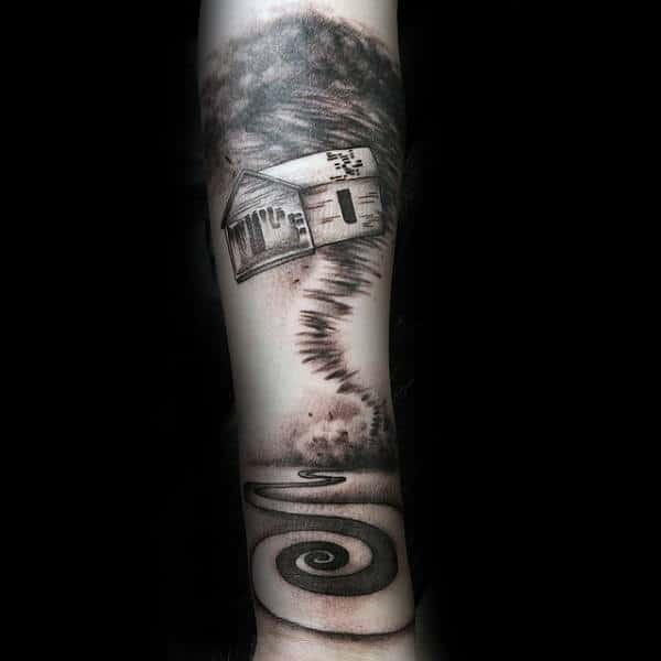 Spiral Tornado Forearm Tattoos Fro Guys