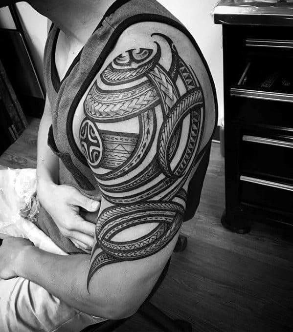 Spiral Tribal Polynesian Male Arm Tattoo