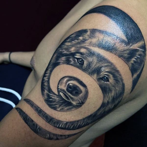 Spiral Tribal Wolf Mens Realistic Arm Tattoo Ideas