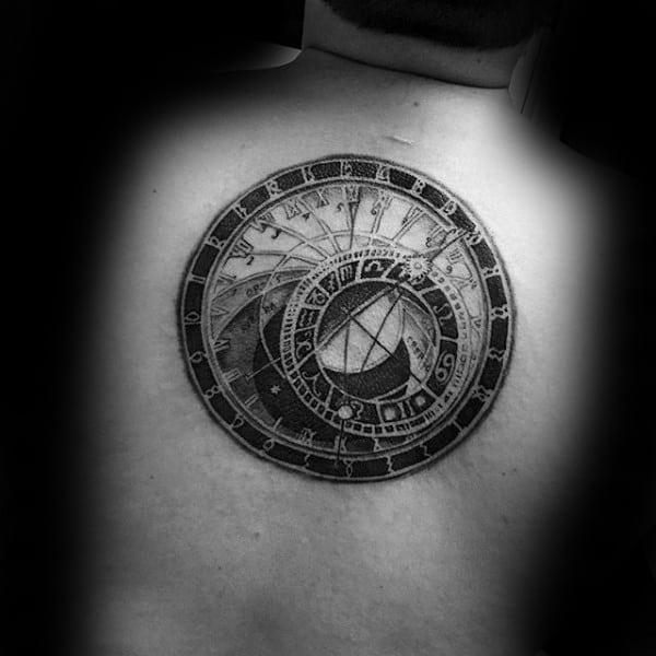 Spiral Vintage Black Ink Male Center Of Back Tattoo