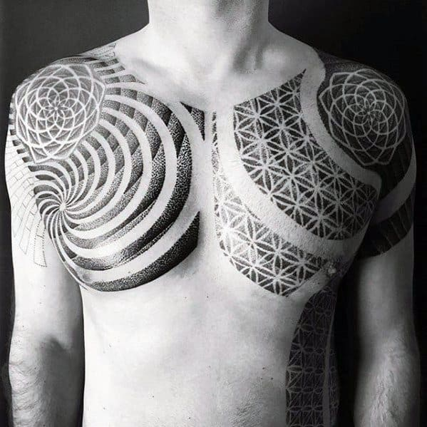 Spiral With Flower Of Life Pattern Geometric Chest Tattoo On Men