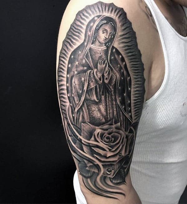 Spiritual Virgin Mary Mens Upper Arm Tattoos