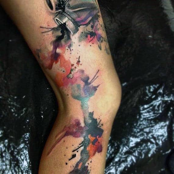 Splashy Watercolor Tattoo On Legs For Men