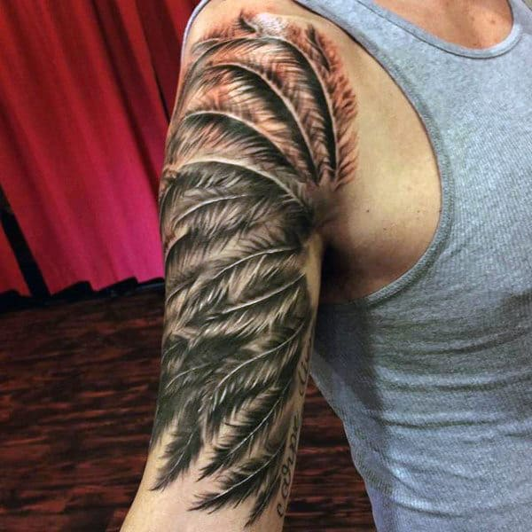 Splendid Black Feather Tattoo Designon Arms For Men