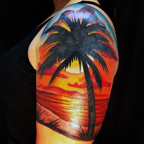 Splendid Sunset With Palm Tree Tattoo On Shoulders