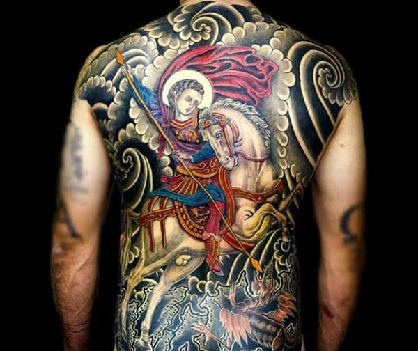 Splendid Tattoo Of White Horse And Angel Mens Full Back
