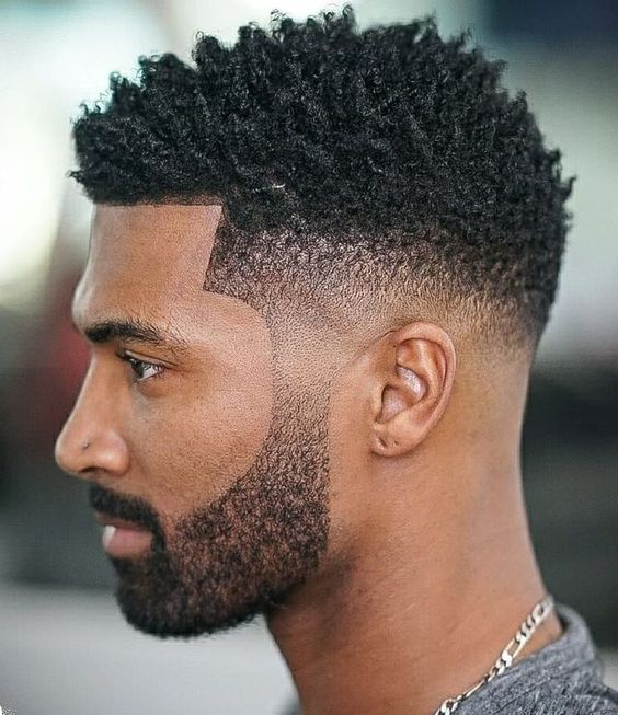 a haircut with twists created using a loc sponge. The look is completed by pairing it with a taper fade cut